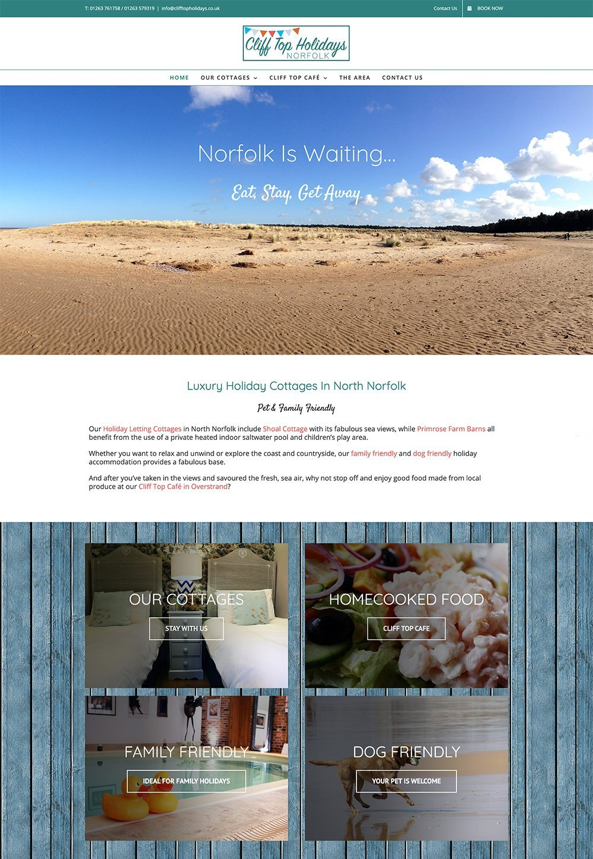 Cottage showcase website for Cliff Top Holidays, Norfolk.