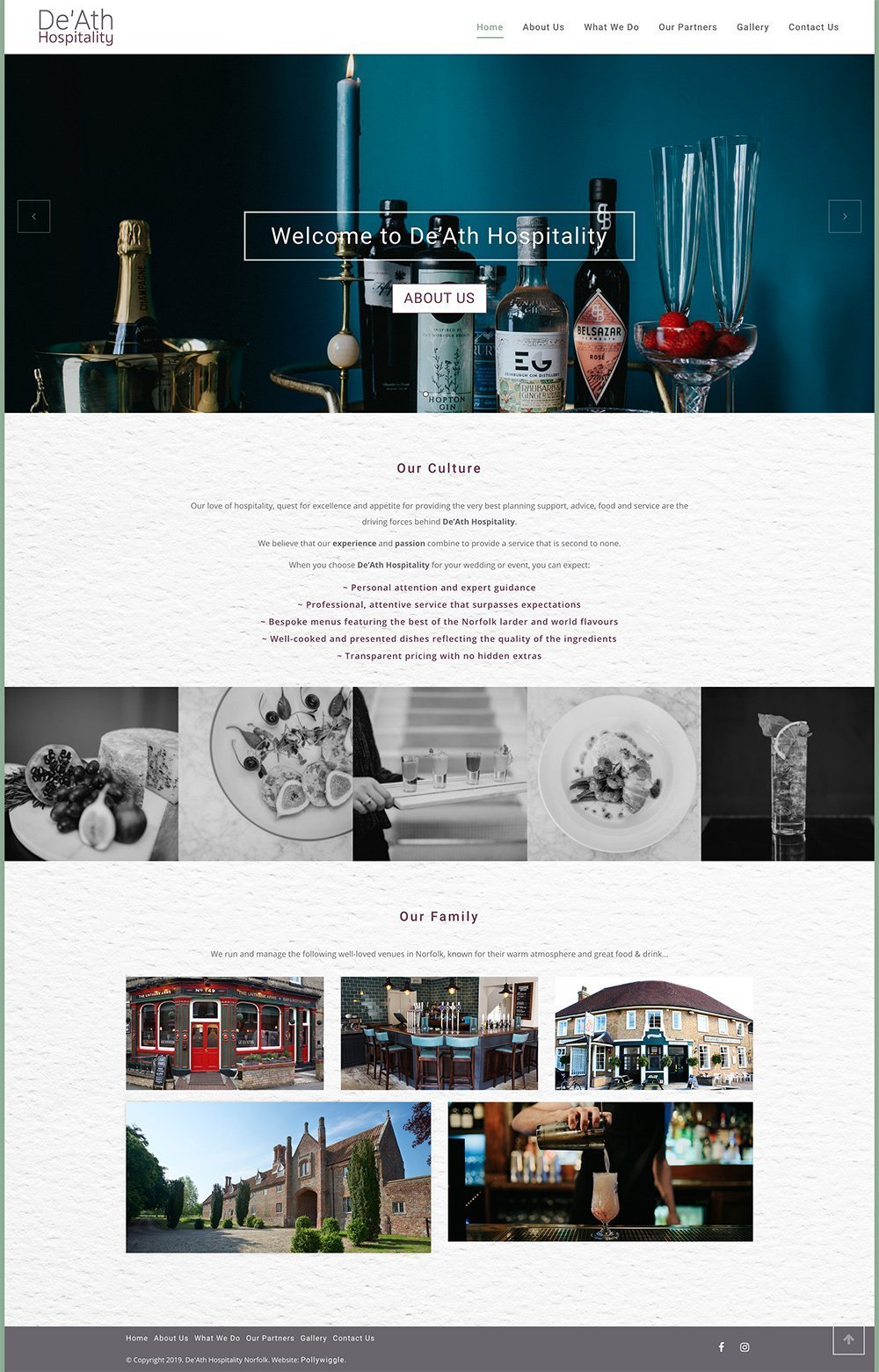 Website for De'Ath Hospitality in Norwich.
